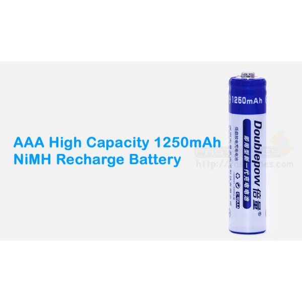Doublepow AAA High Capacity 1250mAh NiMH Rechargeable Battery
