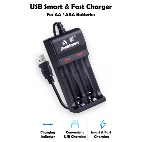 Doublepow USB Smart & Faste AA / AAA Battery Charger [2 Slots]