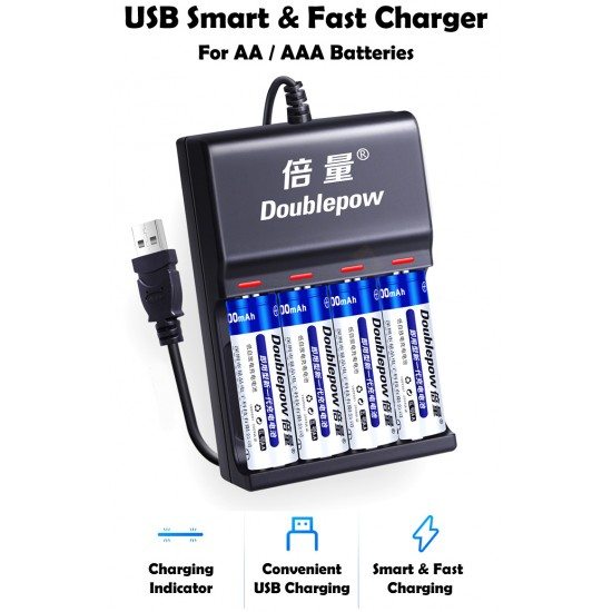 Doublepow USB Smart & Fast AA / AAA Battery Charger [4 Slots]