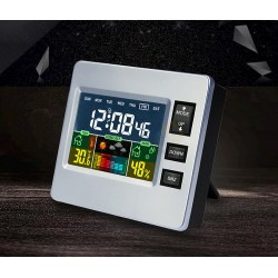 Color LCD Clock With Weather Forecast, Hygrometer, Thermometer, Alarm