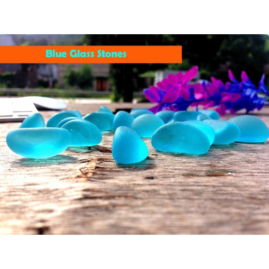 Blue Glass Decorative Stones For Fish Tank