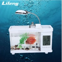 Lileng Mini Fish Tank With Lamp, Alarm Clock, Thermometer, Stationery Holder