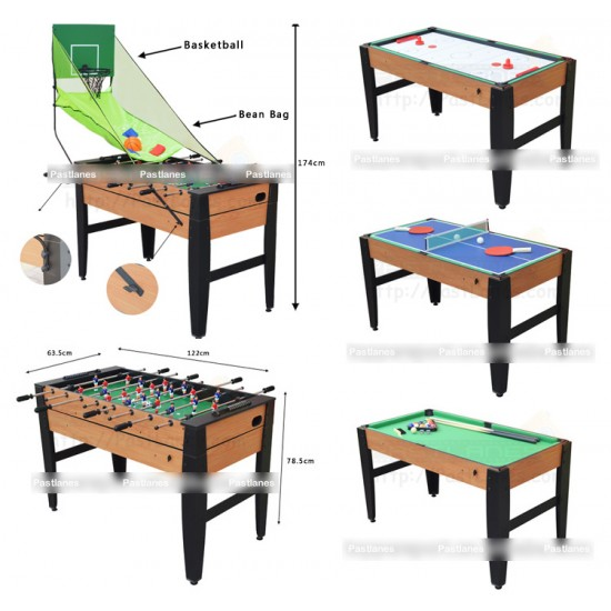 6 In 1 Game Table - Soccer, Pool, Tennis, Air Hockey, BasketBall, Bean Bag
