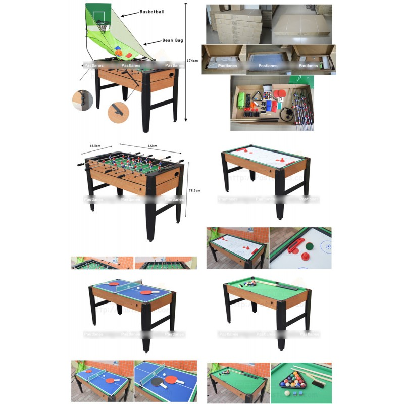 6 in 1 game table soccer pool tennis air hockey for Table 6 games