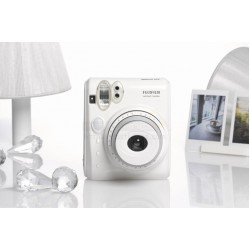 Fujifilm Instax Mini 50S Piano Polaroid Camera (White) + Mystery Gift