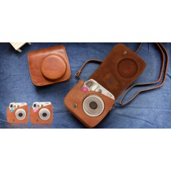 Vintage Brown Leather Bag For Instax Mini 7S
