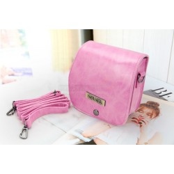 Vintage Pink Leather Bag For Instax Mini 7S
