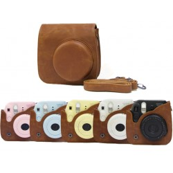 Vintage Brown Leather Bag For Instax Mini 8, Mini 8+, Mini 9