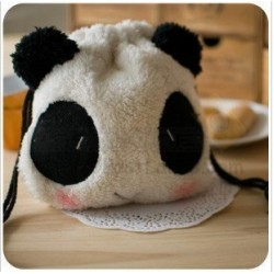 Panda Fluffy Pouch Bag