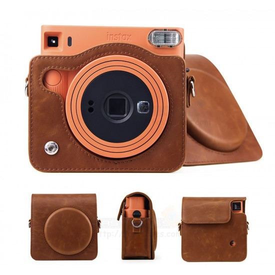 Retro Brown Leather Bag For Instax Square SQ1