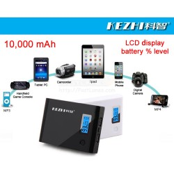 Kezhi 10,000mAh Powerbank With LCD Battery % Level Display
