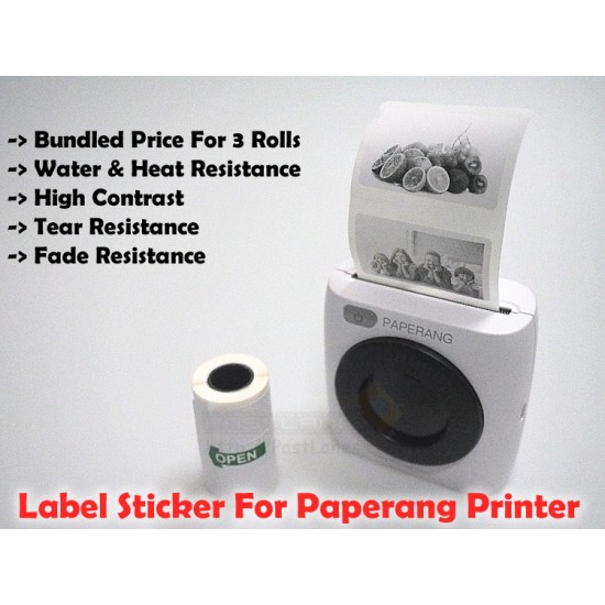 Premium Label Sticker Thermal Paper (3 Rolls) For Paperang / Comicam / Peripage / Receipt Printer