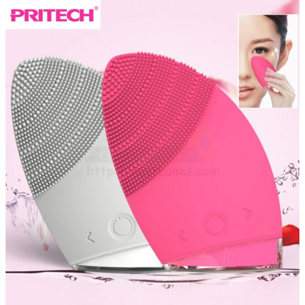 Pritech Ultrasonic Silicon Facial Cleansing Brush, Face Massager