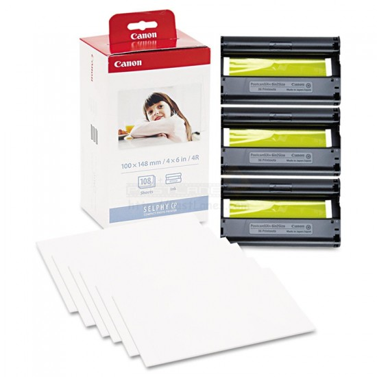 Canon KP-108IN Color Ink Photo Paper Set For Selphy Printer